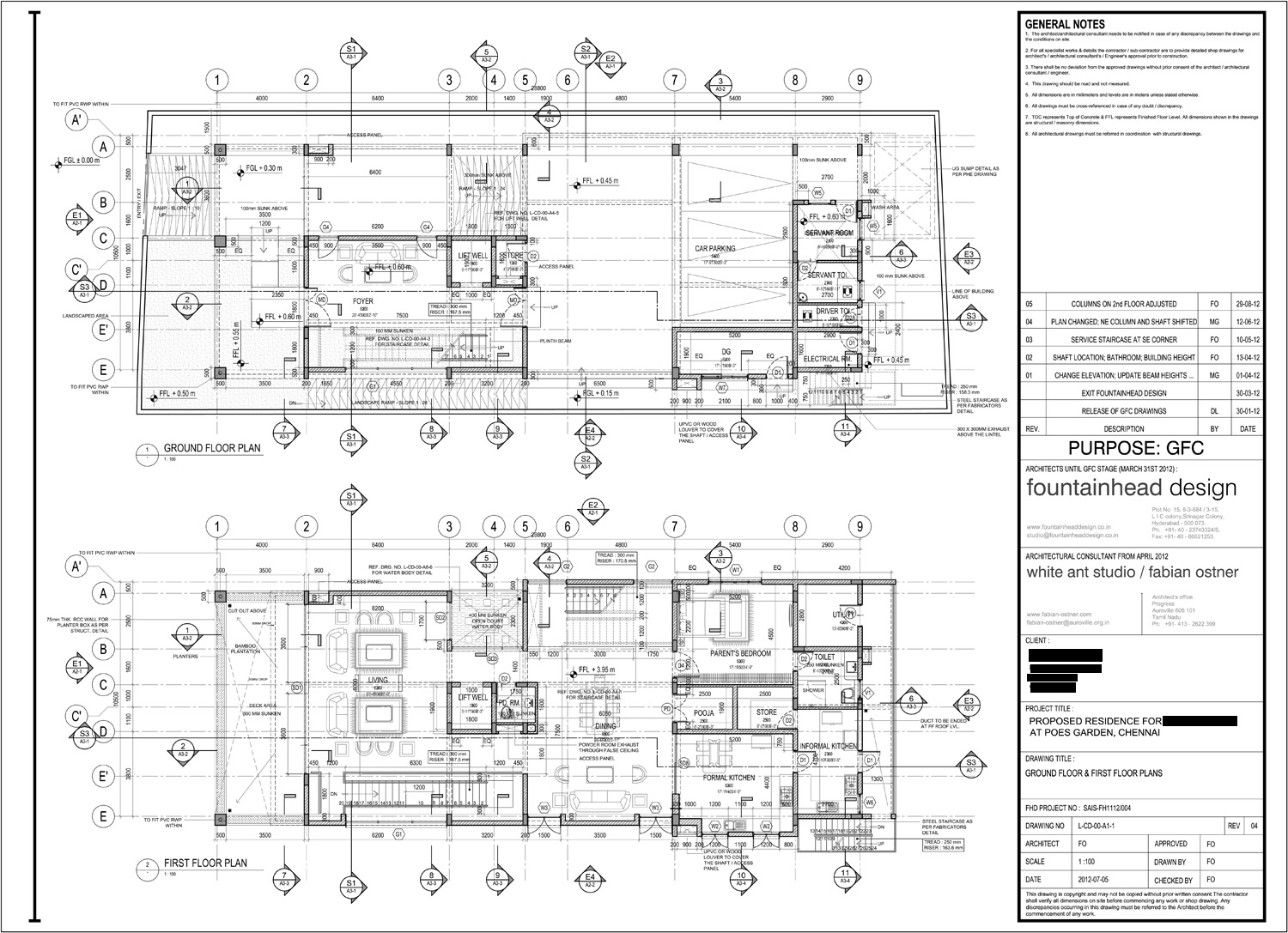 House in poe s garden chennai floorplans for Construction plan drawing