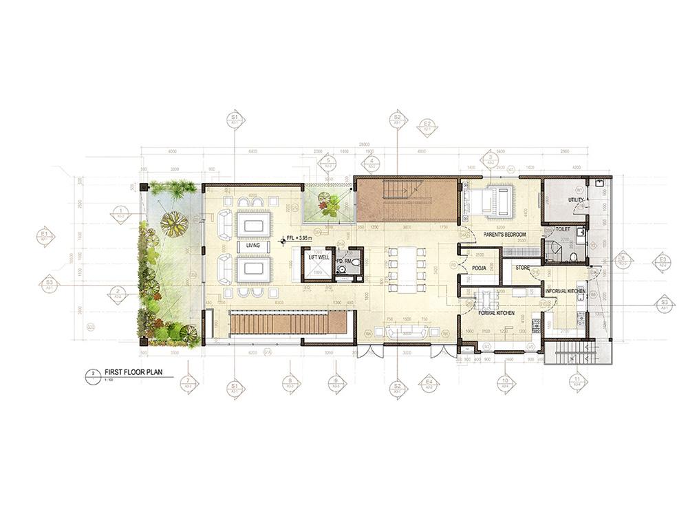 House in poe s garden chennai rendered floor plans and for Rendered floor plan